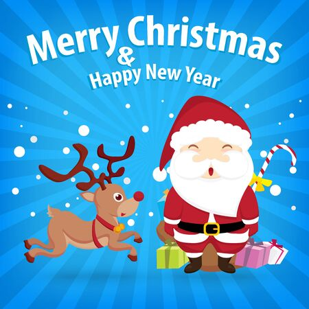 santa claus and snow theme, merry christmas and happy new year on background