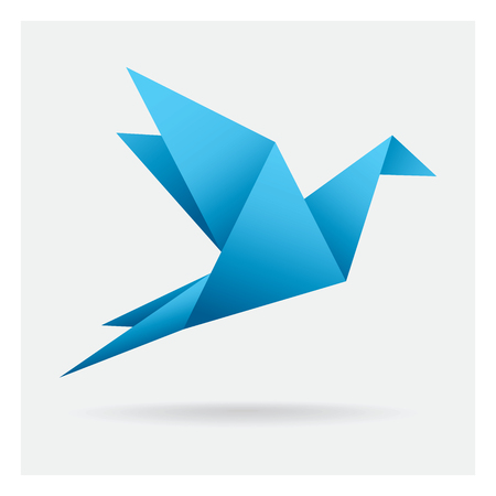 blue bird paper craft flying in frame art isolated on background