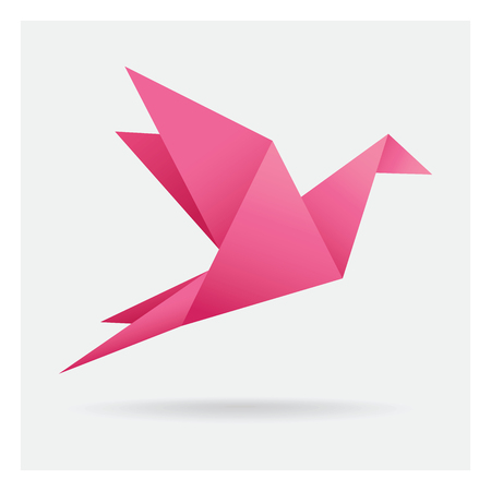 pink bird paper craft flying in frame art isolated on background Ilustracja
