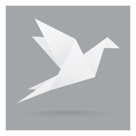 灰色の黒の背景に隔離されたフレームアートで飛ぶ白い鳥のペーパークラフト