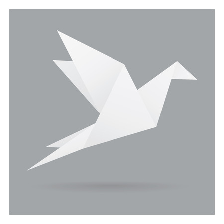 white bird paper craft flying in frame art isolated on gray black background