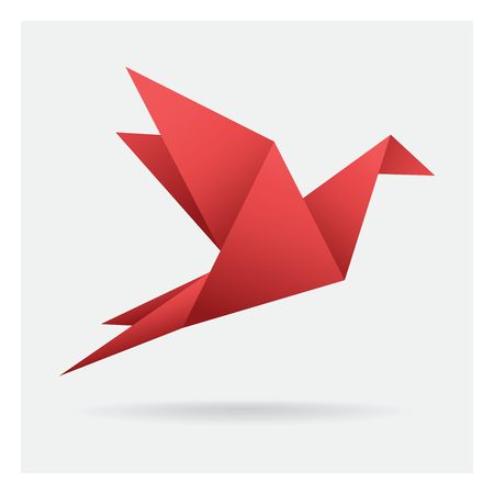 red bird paper craft flying in frame art isolated on background
