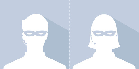 avatar head profile silhouette with shadow call center thief mask male and female picture