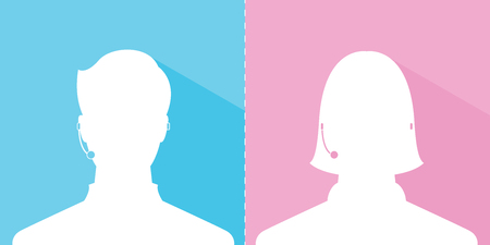 avatar head profile silhouette with shadow call center male and female picture