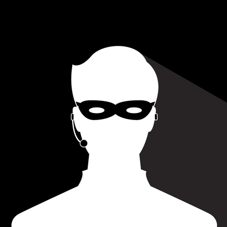 avatar head profile silhouette with shadow  call center thief mask male picture