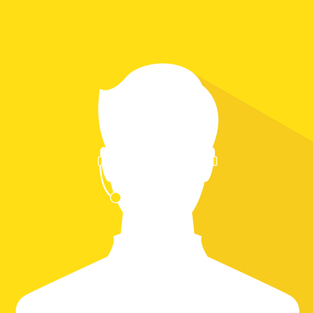 avatar head profile silhouette with shadow  call center male picture