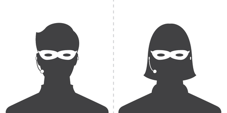 avatar head profile silhouette call center thief mask male and female picture Illustration