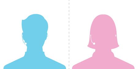avatar head profile silhouette call center male and female picture Illustration