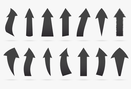 set black charcoal vector popular arrow sticker isolated origami ribbon paper infographic collection isolated on white background Ilustrace