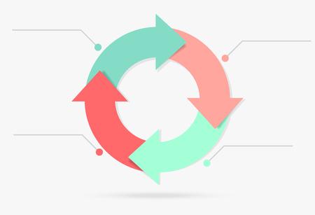 pastelowe kolorowe infografiki cyklu życia treści marketingowych Ilustracje wektorowe