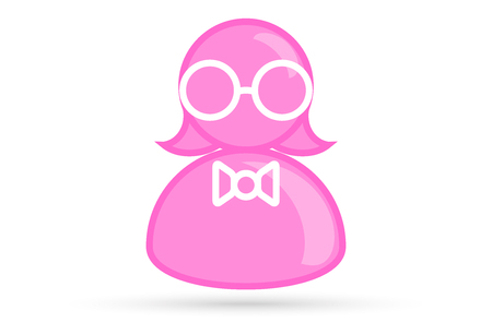 pink female profile picture, silhouette profile avatar icon symbol with glasses, bow tie Ilustração