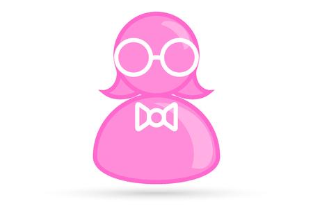 pink female profile picture, silhouette profile avatar icon symbol with glasses, bow tie Illustration