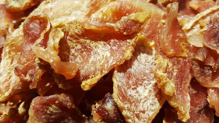 close-up sun dried pork