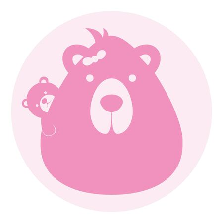 bear mom mother with baby logo silhouette head profile picture avatar user 向量圖像