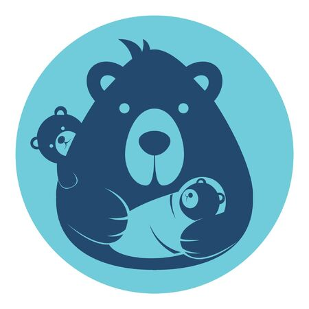 bear dad father with baby logo silhouette head profile picture avatar user