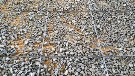 crushed stone sand reinforced steel bar, pour cement