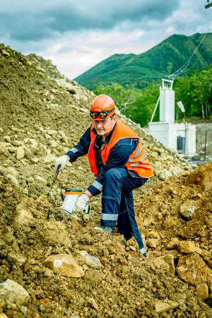 Geologist working with the nickel ore