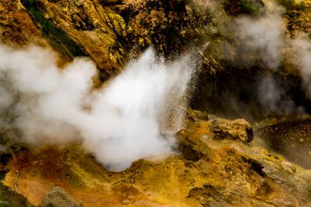 Eruption of geyser