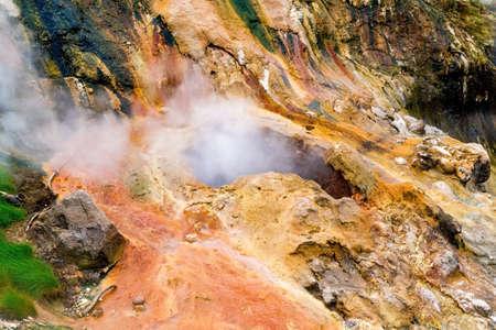 erupting: Big geyser heat up before eruption in Valley of Geyser Stock Photo