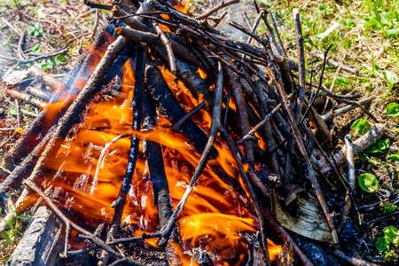 Small bonfire close-up