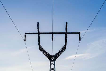 High voltage power line silhouette