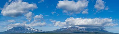 Koryaksky and Avacha volcanoes panorama