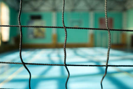 Volleyball net close-up on blurred background Stock Photo