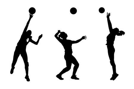Vector silhouettes of girls classic volleyball.
