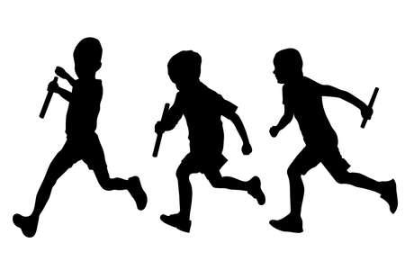 Relay race set running boys vector silhouettes