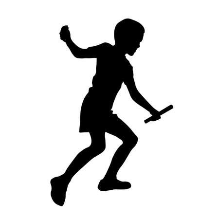 Relay race set running boy vector silhouette