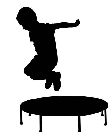 Boy jump out from trampoline silhouette