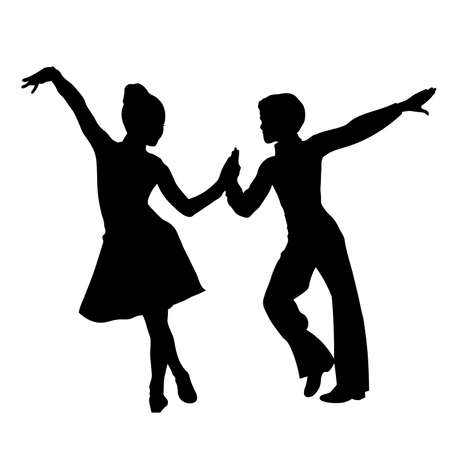 Children latin dancers couple silhouette Illustration