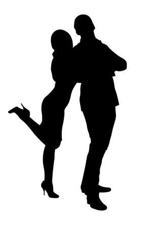 Girl hugs guy vector silhouette