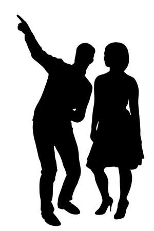 Man points girl direction by finger silhouette