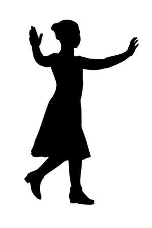 Dancing little girl silhouette vector