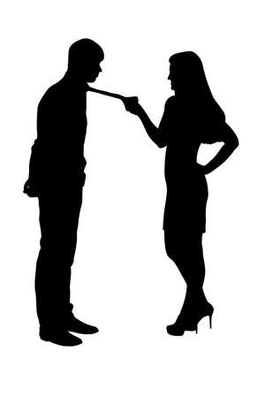 Woman holding man by tie silhouette