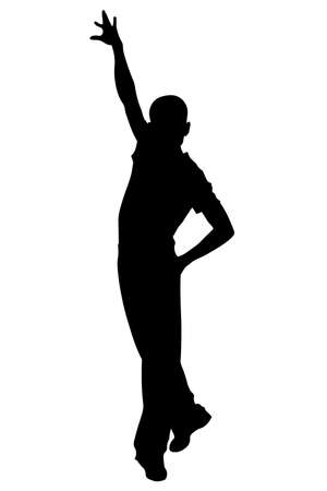 Latin dancer pose man silhouette vector isolated