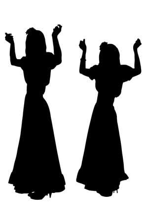 Girls dancing in Spanish costumes silhouette Stock Illustratie