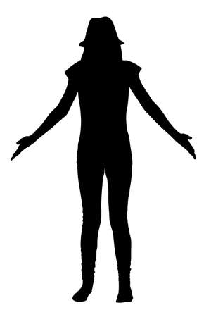 Teen girl spreads her hands silhouette vector