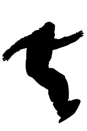 Snowboarder descents the slope silhouette vector isolated
