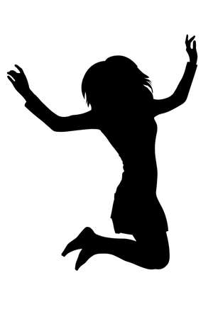 Long haired teen girl jumping silhouette vector isolated Stock Photo