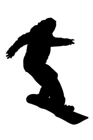 Teenager on snowboard descending silhouette vector isolated