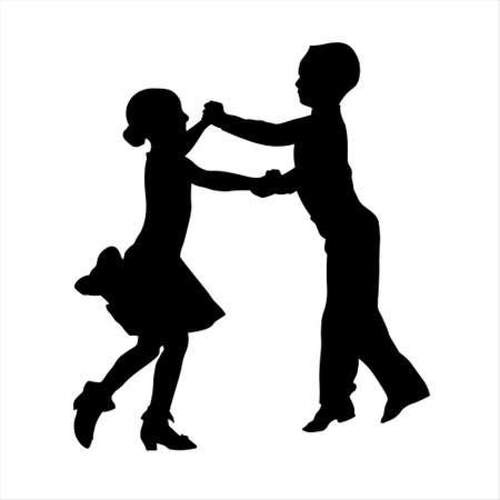 Ballroom dancers preschool boy and girl vector silhouette
