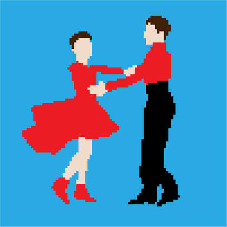 Dancing couple of children pixel art vector illustration Standard-Bild - 131445939