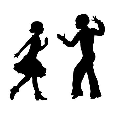 Boy and girl performing latin ballroom dance silhouette Иллюстрация