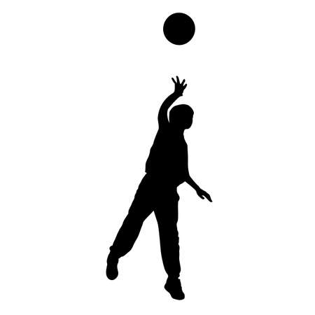 Boy throws the ball forward with his hand silhouette