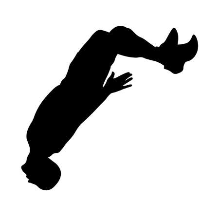 Man performs a jump with a flip back silhouette Illustration