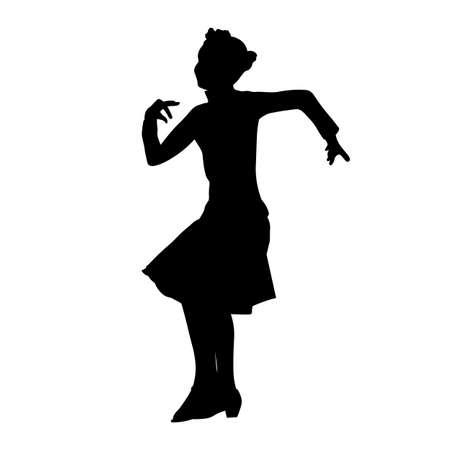 Solo little girl dancing cha cha silhouette