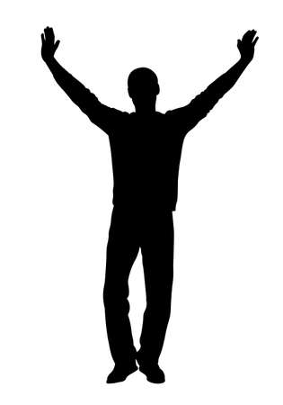 Man stands with his hands up silhouette