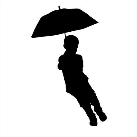 Little boy with umbrella running over puddle Illustration